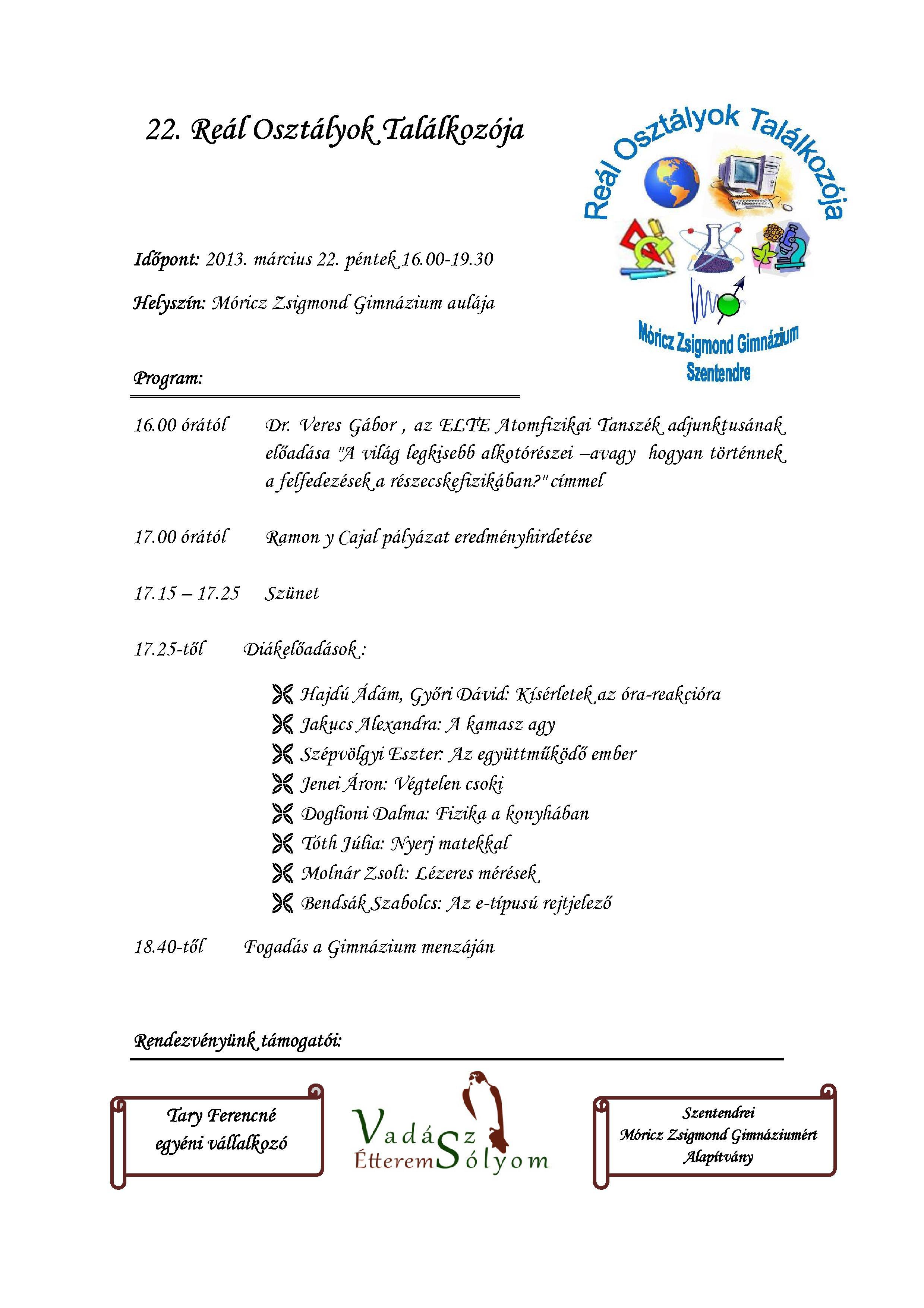 22. Reál Osztályok Találkozója